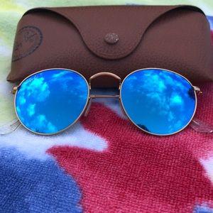 Ray-Ban polarized flash blue circle glasses
